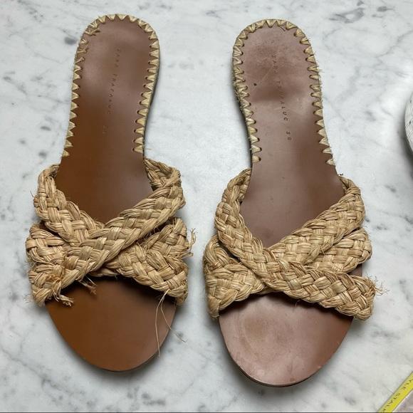 Zara Trafaluc Raffia Woven Flat Open-Toe Sandals